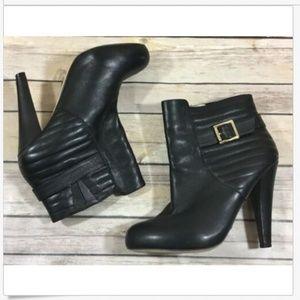 Matiko Pull On Buckle Leather Booties 7 Black